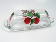 Luscious Handpainted Glass Cherry Butter Dish I want want want!!!!!