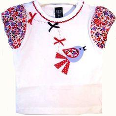a041a6d18 Camiseta niña de verano con mangas farol en popelín estampado - Blusas y Camisas  Niñas