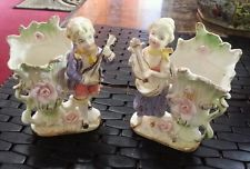 PAIR ANTIQUE VICTORIAN COUPLE SPILL VASES MUSIC DRESDEN GOLD GILT FIGURINES