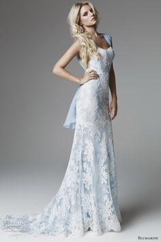 Blue Lace Wedding Dress for Older Brides Over 40, 50, 60, 70. Colored Second Wedding Dress Ideas.