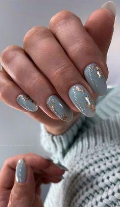 Stylish Nails, Trendy Nails, Milky Nails, Oval Shaped Nails, Nagellack Design, Gray Nails, Blue Nails Art, Blue Gold Nails, Foil Nails