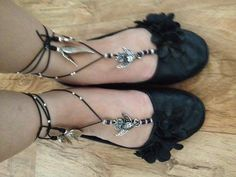 Gorgeous owl Angel Goddess Sandals can be worn with or without shoes.