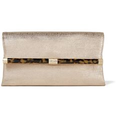 Diane von Furstenberg - 440 Envelope Metallic Lizard-effect Leather... (540 ILS) ❤ liked on Polyvore featuring bags, handbags, clutches, gold, metallic handbags, pink envelope clutch, leather clutches, real leather purses and pink leather handbags