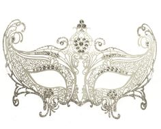 Divine Metal Lace Masquerade Mask - Silver and White