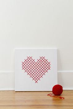 Heart on My Sleeve Giant Cross-Stitch by Jessica Decker | Project | Home Decor | Cross Stitch | Kollabora