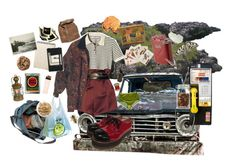 """""""living in my car"""" by morganrooke ❤ liked on Polyvore featuring AllSaints, Moleskine and Retrò"""