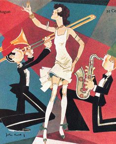 An iconic cover of McClure's magazine by John Held Jr, whose style helped shape art in the roaring twenties. (This painting was also used on the U. Postage stamp celebrating the decade. Roaring Twenties, The Twenties, Belle Epoque, 1920s Jazz, 1920s Flapper, Flappers 1920s, Flapper Party, Jazz Poster, Dorothy Parker