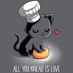 Awwww sweetie except when YOU GET DIAGNOSED WITH CELIAC AND CANT KNEAD THE DOUGH BECAUSE YOU WOULD INHALE FLOUR AND- whew sorry. Cute Animal Drawings, Kawaii Drawings, Cartoon Mignon, Funny Animals, Cute Animals, Draw Animals, Cat Puns, Art Mignon, Gatos Cats