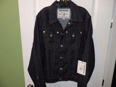True Religion Big Man Dark Blue Denim Truckers Jean Jacket SZ 2XL NWT MSRP $277