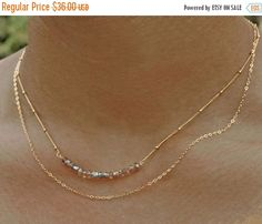 20% off. Labradorite Bar Necklace. Double Layer Necklace. Gemstone Jewelry. Multi Strand Necklace. Gold fill or sterling silver. by MimsyBorogroveDesign
