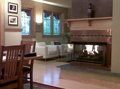 3-sided fireplace w/ faux leather washable wallcovering