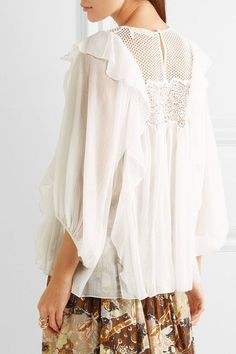 Chloé - Ruffled Guipure Lace-paneled Silk-crepon Blouse - Off-white - FR44