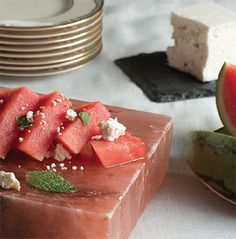 Watermelon Feta on Salt Block