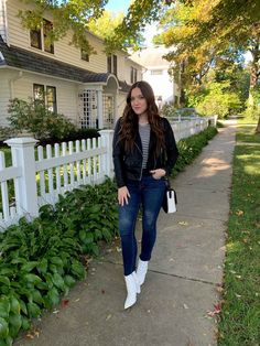 Everyone owns and wears the classic pairing of denim, a long sleeve tee, and a Moto jacket. These wardrobe staples are thought of as t. Coach Purses, Moto Jacket, Outfit Posts, Wardrobe Staples, Mom Jeans, Long Sleeve Tees, Lisa, Daughter, Feelings