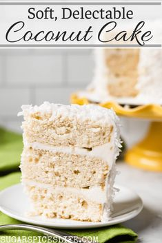 Soft, white cake frosted with a coconut buttercream, and filled with coconut in every delectable layer. This Coconut Cake is the stuff of coconut dreams! #sugarspiceslife #cake #coconut #easter #holiday #summer #spring #dessert #layercake #coconutcream #coconutmilk Delicious Cake Recipes, Best Cake Recipes, Healthy Dessert Recipes, Yummy Cakes, Homemade Desserts, Easy Desserts, Coconut Recipes, Baking Recipes, Coconut Cake Frosting