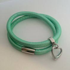 Leather wrap bracelet in spearmint green with stainless steel