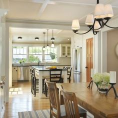 Modest, beautiful bungalow kitchen and dining room