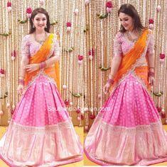 Party Wear Indian Dresses, Indian Fashion Dresses, India Fashion, Latest Bridal Lehenga Designs, Wedding Lehenga Designs, Long Gown Dress, Maxi Dress With Sleeves, Half Saree Lehenga, Saree Blouse