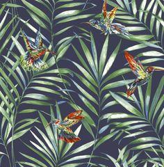Graham & Brown Wallpaper   Hummingbird Navy   106627 – WonderWall by Nobletts