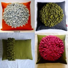 Touchably tactile felt loop cushions made with tone-on-tone or contrasting colors. The pillows are available as (roughly) 18- or 20-inch squares or 18-by-24-inch rectangles.