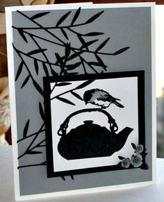 Asian themed card using Impression Obsession's Chickadee Tea stamp.  Card created by Nicole Gruidl.  Die:  Memory Box Bamboo Shoots Branch (http://shopthehenhousenm.com/collections/memory-box/products/memory-box-designer-die-bamboo-shoots)