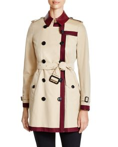 Burberry London Kensington Mid-Length Color Block Trench Coat | Bloomingdales's