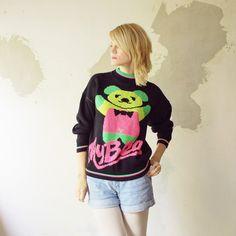 80s 90s hipster neon BEAR sweater  medium by retrospectrovintage