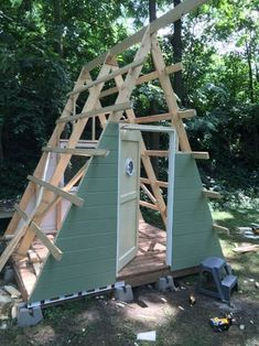 A Frame Cabin/Club House : 9 Steps (with Pictures) - Instructables Tiny House Cabin, Tiny House Design, A Frame Cabin Plans, Hunting Cabin, Backyard Play, Small House Plans, Bungalows, Outdoor Projects, Play Houses