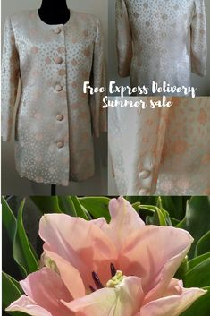 Women's Evening Coat, Silk Brocade Wedding Jacket, Floral Embossed pastel pink Jacket, vintage 80s Coat, Sustainable Fashion #eveningcoat #weddingjacket #brocadejacket #sustainablefashion #pastelpinkjacket #formaljacket #vintage80scoat #silkjacket #retro