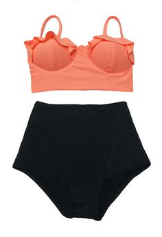 Old Rose Midkini Top and Black High Waisted Waist Shorts Bottom Swimsuit Bikini