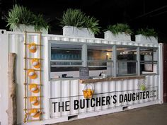 Go After Young People; Cursed Locations Very cool restaurant container---The Butcher's Daughter- .auVery cool restaurant container---The Butcher's Daughter- . Shipping Container Restaurant, Shipping Container Design, Shipping Containers, Shipping Container Store, Cafe Bar, Streetfood Market, Container Coffee Shop, Pop Up Restaurant, Butcher Restaurant