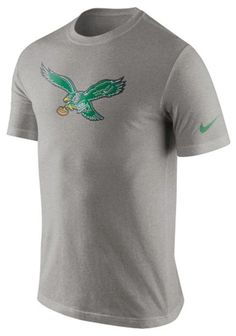 NIKE NFL PHILADELPHIA EAGLES Retro Vintage Throwback Logo Mens Gray T-Shirt