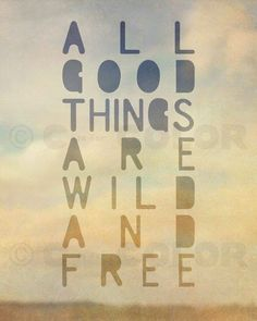 All Good Things Are Wild and Free Print - Thoreau saying - typographic art, romantic, dreamy, hazy, nature, wilderness, wanderlust - 8 x 10 $18