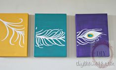 DIY Project Parade - Peacock Feather Triptych Canvases - DIY Show Off ™ - DIY Decorating and Home Improvement Blog