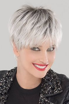 Petite/Average Swing by Ellen Wille Wigs - Monofilament Crown, Lace Front Wig dice qui las Grey White Hair, Grey Wig, Short Grey Hair, Short Hair Cuts, Short Hair Styles, Short Pixie Haircuts, Pixie Hairstyles, Braid Hairstyles, Prevent Grey Hair