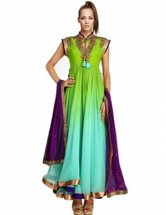 Bharat plaza gives you a complete outlook on the latest Pakistani dresses.  Light Green & Aqua Kameez. http://www.bharatplaza.com/womens-wear/readymade-suits/anarkali-suits.html