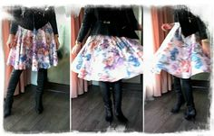Full floral skirt paired with otk boots ans a leather jacket.