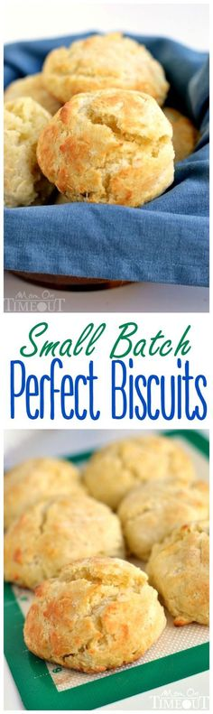 Small Batch Biscuits Our weekends just aren't complete without biscuits. This easy Small Batch Perfect Biscuits recipe yields six perfect biscuits without the use of buttermilk. Flaky Biscuits, Cookies Et Biscuits, Buttermilk Biscuits, Homemade Biscuits, Blueberry Biscuits, Tea Biscuits, Baking Cookies, Brunch Recipes, Breakfast Recipes