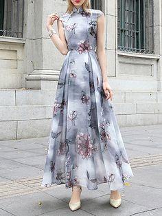 Gray Floral Printed Short Sleeve Maxi Dress