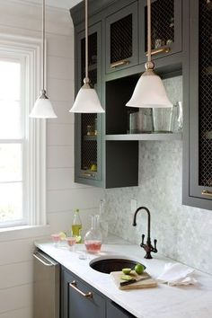 Cabinets painted in Benjamin Moore Millstone Gray. by lemai13