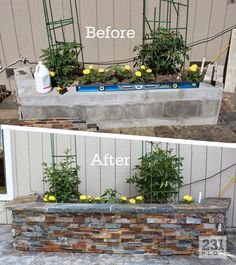 DIY Slate Ledger Stone Planter Boxes with a bench. Boxes built with cinder block. DIY Slate Ledger Stone Planter Boxes with a bench. Boxes built with cinder block and faced with stone, they only look expensive.