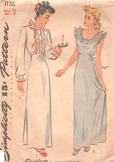 Simplicity 11361940s Ladies Lingerie Pattern Misses  Nighgown Neglisee womens vintage sewing pattern by mbchills