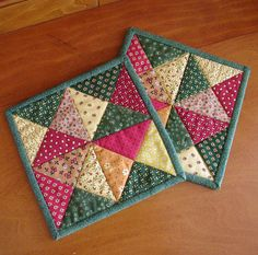 Tuscany Villa Quilted Mug Rugs set of 2 by scarecrowcabin on Etsy