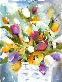 Watercolors by Maria Stezhko (Акварели Марии Стежко): Bucket of tulips