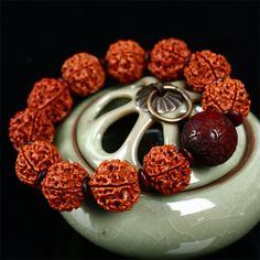 Five Petal rudraksha beads bracelet 19mm Red Sandalwood Beads Original DIY Bracelets Wholesale Men And Women Jewelry