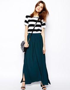 Image 1 ofASOS Maxi Skirt With Splits