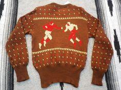 40's JERSILD ジャガードニット ウールスキーセーター US38位 フットボール柄ヴィンテージニット古着 - Vintage Clothing Web Store Amurica