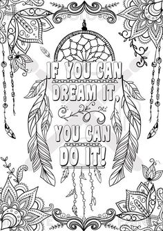 If you can dream it, you can do it adult coloring page motivational poster