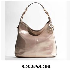 🆕 COACH Peyton Metallic Leather Shoulder Bag LIKE NEW. This stylish & versatile bag is an instant wardrobe staple. Pair w/ structured pieces for an effortless uptown look. Pewter color. Matte rose gold tone hardware. Non-functional turn lock detailing at sides. Pink sateen lining w/ 1 zipper compartment & 2 slip pockets. Coach keychains came on bag & included, along with dust bag. Authentic, purchased directly from Coach store myself on a whim, but now I prefer crossbody styles. Perfect…