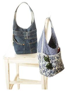 "Use this Chic Bucket Bag Pattern to stitch a fashionable and roomy purse. You can even make a purse using a pair of old jeans!   This purse sewing pattern features 2 versions. With quilted pockets on the outside, this purse is fun and functional. Both versions have convenient interior pockets. Finished size is 10 1/2"" H x 8 1/2"" W x 6"" D."